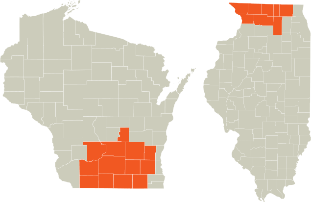 Polytek service area in WI and IL